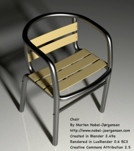 Chair rendered in LuxRenderer - Click on image for large version